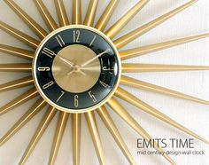 【楽天市場】壁掛け時計 掛け時計 時計 北欧 ミッドセンチュリー レトロ クロック ウォールクロック モダン おしゃれ インテリア 存在感あるミッドセンチュリーデザイン♪ 壁掛け時計 EMITS TIME:エア・リゾーム インテリア