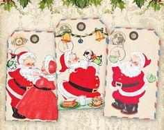 Printable Christmas Santa Gift Tags on Digital Collage Sheet best for paper craft Christmas presents - RED SANTA TAGS