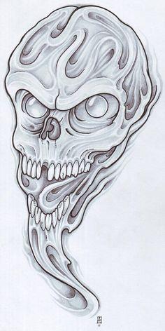 Gooey Skull by vikingtattoo on DeviantArt Evil Skull Tattoo, Evil Tattoos, Demon Tattoo, Skull Tattoo Design, Skull Tattoos, Samurai Tattoo, Dragon Artwork, Skull Artwork, Cool Tattoo Drawings