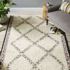 Taza Wool Shag Rug-This Moroccan inspired pattern is highlighted with patches of color from