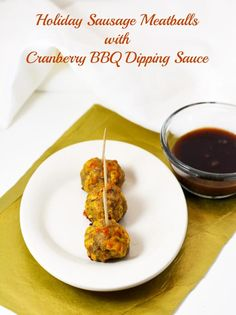 Holiday sausage meatballs with cranberry BBQ dipping sauce. Great holiday appetizer for parties or events. #recipe