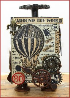 - 'Around the World' Art Rubber Stamp, x Crafty Individuals Art Rubber Stamps, Unmounted Every Occasion, Vintage Steampunk @ Crafty individuals Atc Cards, Card Tags, Air Balloon, Balloons, Cards For Men, Steampunk Cards, Artist Trading Cards, Tampons, Graphic 45
