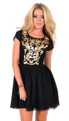 Gold Baroque Chiffon Dress | Baroque Front Mini Dress | OMG Fashion