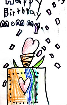 Student's drawing of a birthday card for her mom.