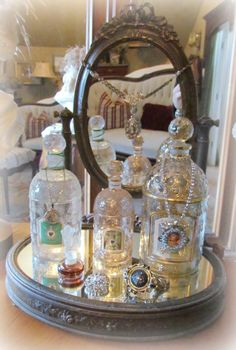 vintage french perfume bottles. Actally i have a vintage perfume bottle too...remind me if I forget?