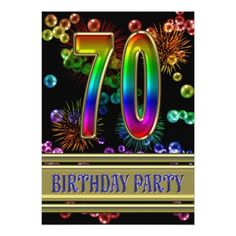 "70th Birthday party Invitation with bubbles 5"" X 7"" Invitation Card"