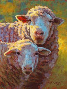 """Baa-bee and Maa"" - Original Fine Art for Sale - © Rita Kirkman (amazing color!)"