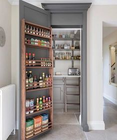 Happy Monday to you all! Here's a shot of the walk in pantry concealed behind … Happy Monday to you all! Here's a shot of the walk in pantry concealed behind a Longford tall cupboard door… this area is just off the… - Own Kitchen Pantry Pantry Shelving, Pantry Storage, Kitchen Storage, Shelving Ideas, Storage Ideas, Pantry Organization, Storage Bins, Pantry Ideas, Wall Storage