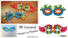 DIY bricolage enfant Carnaval masque loup en Playmais (flocons maïs)