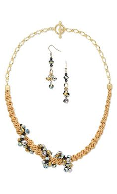 Single-Strand Necklace and Earring Set with Celestial Crystal® and Silver-Finished Brass Beads and Kumihimo Imitation Silk Cord - Fire Mountain Gems and Beads