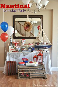 {Party} Nautical Lobster Party - part 2 - Creative Juice Boy First Birthday, First Birthday Parties, Birthday Party Themes, Birthday Ideas, Anchor Birthday, Anchor Party, Lobster Party, Lobster Trap, Nautical Theme