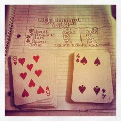 my version of the deck of cards workout inspired by Carrie Underwood: Shuffle the deck and split it in 1/2.  Choose an exercise from each category for the first half of the deck and another exercise for the 2nd half. (i.e. cardio = jumping jacks / mountain climbers, abs = reverse crunches / superman, legs = squats / leg raises, arms = pushups / tricep extensions)  Jokers = you pick the exercise! Take a break or take a challenge and do 60 seconds of zumba or step ups : )