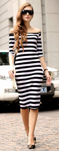 #Stripes #pencil #dress