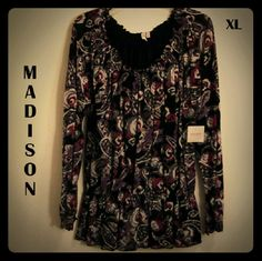 price!!!  Lovely tunic in prple/blck/mauve Big Price Reduction!  MADISON - LS scoop neck tunic top in prple-mauve-black-white paisley pattern; fully lined in black nylon. Sophisticated top always looks gr8, easy care fabric: 100% Nylon bouse & shell. New with tags; from SFPF home. Madison Tops Tunics