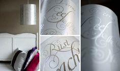 Zilveren lampenkap met tekst - gepersonaliseerd | Klets, met hand en ziel gemaakt