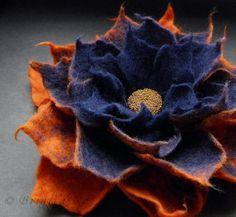 Felted Flower Brooch Navy Blue and Red Orange by BridgetStudio