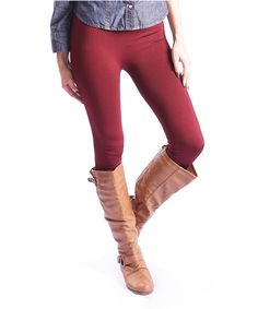 Loving this Burgundy Fleece-Lined Leggings on #zulily! #zulilyfinds