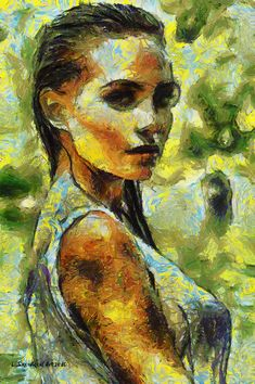 Portret Dziewczyny Oil Digital Art.