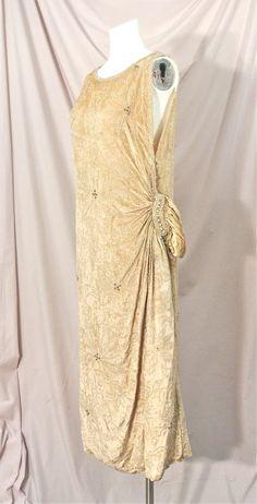 1920's Opulent *Fully* Beaded Cream Velvet Flapper Dress w/Rhinestones & Pearls!