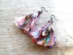 Boho Tassel Earrings - Gypsy Junk Earrings - Bohemian jewelry - Gypsy Hippie earrings - Indian earrings - Recycled, Upcycled, Repurposed