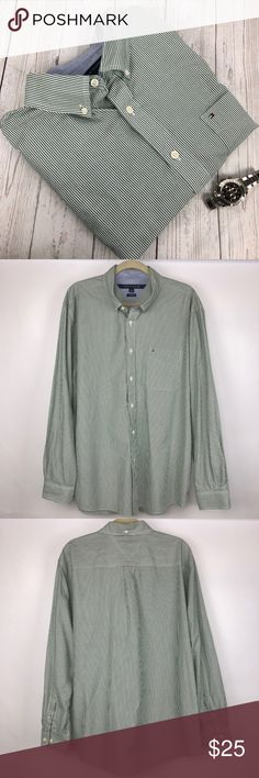 "Tommy Hilfiger Casual Button Down Striped Shirt Thanks for stopping by!!!  Item: Tommy Hilfiger Men's Size XL Striped Green/White Long Sleeve Button Down Shirt  Condition: In excellent used condition.  Please refer to images for more details about this item. If you have any questions please feel free to ask. All measurements are taken with the item laying and are approximate.   Armpit to Armpit: 26""  Shoulder to Hem: 31"" Tommy Hilfiger Shirts Casual Button Down Shirts"