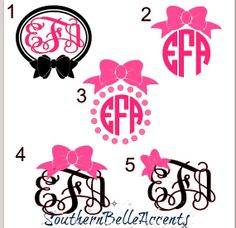 Monograms and Bows Vinyl Decal Perfect for by SouthernBelleAccents, $4.00 easy.com