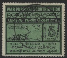 "This ""War Purposes Contribution"" label was for voluntary donations to support the war effort. In this sense they are different from the compulsory ""War Tax"" stamps issued to support the war effort in the First World War. Five and ten cent denominations were produced in 1941. They were placed on the front of the envelope where they often received postal cancellations or sometimes on the back of envelopes as seals. The labels also exist with a red ""V"" for Victory overprint.  Source…"