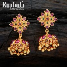 Simply gorgeous, this pair of ornate and attractive South Indian Traditional Silver Temple Ruby Green Jhumka Earrings with Hanging Beads & spinal stones. this pair makes for great festive wear.