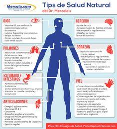 Tips de salud natural #salud  Cada parte de nuestro organismo necesita de diferentes nutrientes y cuidados para mantenerse sana. La buena nutrición, el ejercicio y la disminución de toxinas a nuestro alrededor son claves para nuestro bienestar.