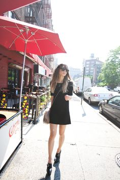 Simple black dress with Burberry wedges