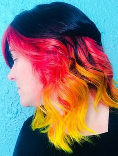 Pink yellow ombre hair
