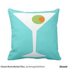 Classic Movie Martini Throw Pillow (Turquoise)
