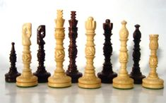 Mini Lotus Carved Chess Pieces, Rosewood Chess Pieces