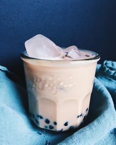 Lavender and Earl Grey Boba Tea  recipe on CB EATS. A simple earl grey tea infused with lavender, sweetened with honey and sweetened condensed milk on top of boba tapioca pearls.