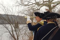 General Washington Looks for Enemy British Troops Across the Delaware River