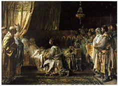 'Últimos momentos del rey don Jaime el Conquistador'. El cuadro muestra la abdicación del rey de Aragón en 1276. El pintor representa al soberano con cabello blanco, sin apenas fuerzas para sostener la espada que entrega a su primogénito.