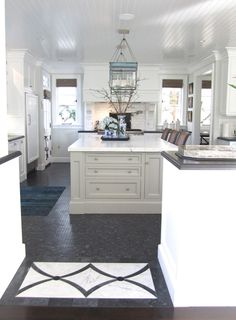 "classic • casual • home: ""New Classic"" Beach Kitchen Part Two. Black and white marble inlay in floor"