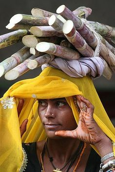 A woman in India carrying sugar cane. Religions Du Monde, Cultures Du Monde, World Cultures, We Are The World, People Around The World, Around The Worlds, Beautiful World, Beautiful People, Simply Beautiful