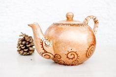 Teapot Fall garden Tea Party  painted ceramics by CraftUnikat, $65.00