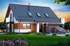 Projekt domu Marsala 2M z wykuszem Bungalow Conversion, Garage Double, Wooden Pallet Furniture, Prefabricated Houses, Construction, Facade House, Marsala, Home Projects, Tiny House