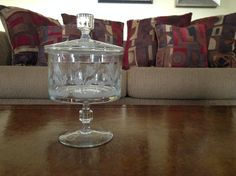 Pedistal Etched Flower Crystal Candy Dish with Lid by AlbertsonMiller on Etsy