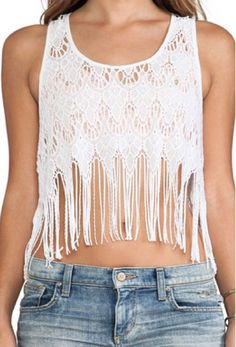 NEW Free People Solid White Sleeveless Fringe Lace Tank Top Women's Large L  #FreePeople #TankCami