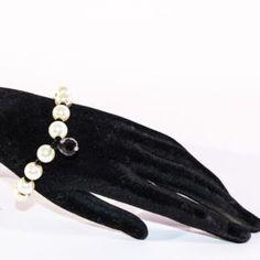 Bracciale con perle bianche gocce swarovsky