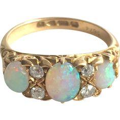 Edwardian Opal and Diamond 18K Yellow Gold Dress Ring Size J/5