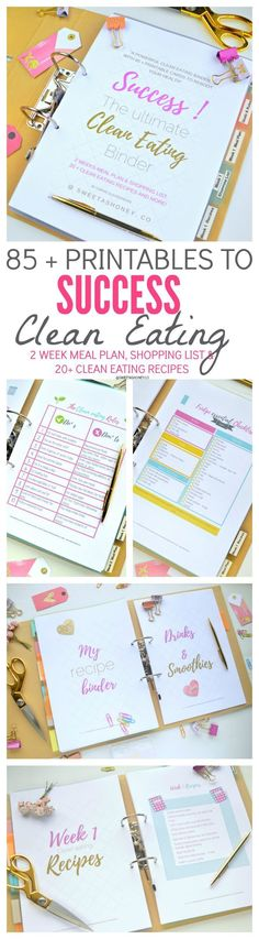 Super Elegant Binder with tons of printables to help you organize & success the clean eating diet. Includes up to 6 week meal plan, shopping list and more than 20 clean eating recipes. Gluten free & Dairy free approved!