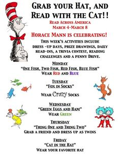 read across america daily activities | ... documents regarding our Read Across America Week student activities: