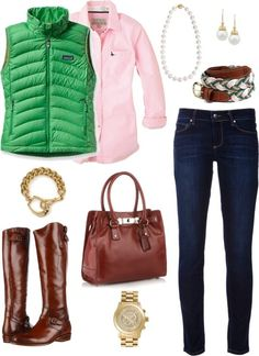 preppy outfit with pink and green