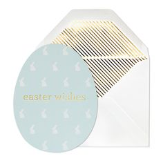 Easter wishes egg ~ $7.00  Our Easter Wishes Egg is letterpress printed on antique machinery. White and gold foil on pale blue paper in our Easter egg die-cut shape. Paired with a white envelope and gold and white diagonal stripe liner. Flat card, blank on one side. dimensions: 4 x 6 inches @Sugar Paper
