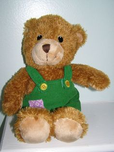 "Applause Corduroy Plush Teddy Bear Toy w Green Don Freeman Overalls 11"" Tall #Applause"
