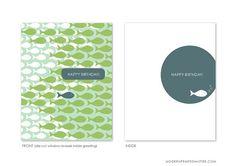 birthday card / fish pattern by ModernPrintedMatter on Etsy